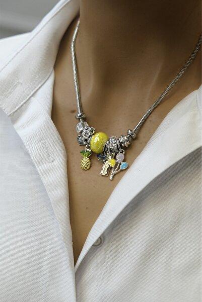 Marjin Kadın Gümüş Renkli Sarı Taşlı Balon Figürlü Kolye