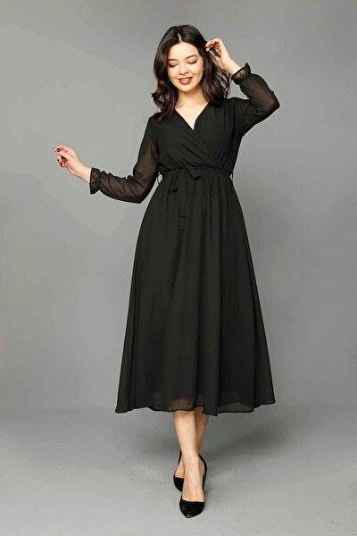 Modakapimda Siyah Şifon Elbise