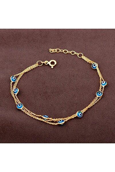 Sümer Telkari Altın Yaldızlı Nazar Boncuklu Üç Sıralı Gümüş Bileklik 2004