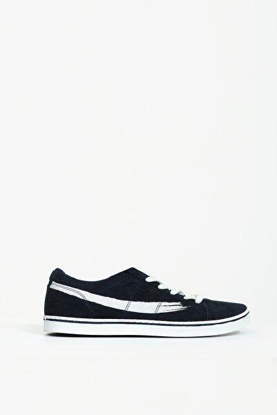 Collezione Lacivert Yanı Desenli Bağcıklı Düz Taban Erkek Sneaker