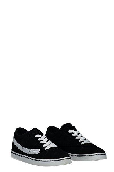 Collezione Siyah Yanı Baskılı Düz Taban Bağcıklı Kadın Sneaker