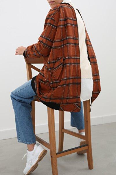 ALLDAY Kiremit Oduncu Ekoseli Ribanalı Cepli Fermuarlı Ceket