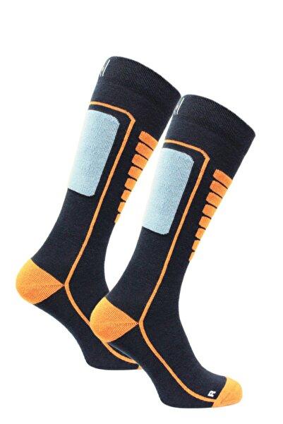 NORFOLK Unisex Lacivert Hafif Merinos Yünü Kayak Çorabı Courchevel