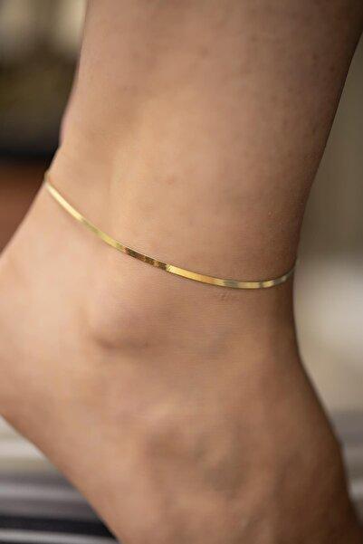 İzla Design Kadın Yassı Zincir Model Altın Kaplama Gümüş İtalyan Halhal
