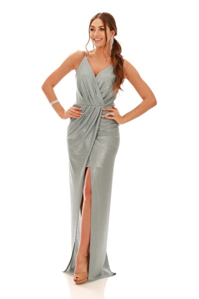 Carmen Mint Laklı Şifon Kruvaze Yırtmaçlı Abiye Elbise