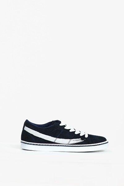 Collezione Kadın Lacivert Yanı Baskılı Düz Taban Bağcıklı Sneaker
