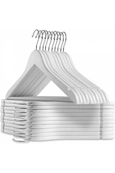 KARİN EV 12 Adet Ahşap Görünümlü Plastik A Kalite Askı, Kıyafet Ve Elbise Askısı Beyaz