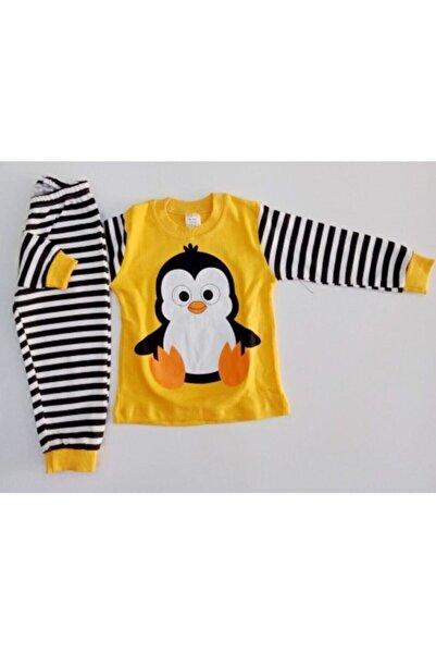 Süpermini Bıcır Bebek Sarı Penguen Baskılı Alt Üst Pijama Takımı