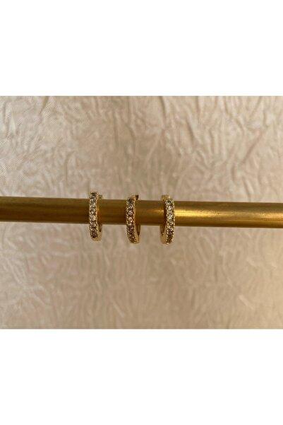Accessories Zirkon Gömme Taşlı Üçlü Takım Küpe