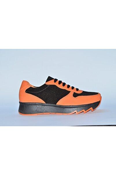 CHARLES STONE %100 Hakiki Deri Turuncu+siyah Spor Bayan Ayakkabısı