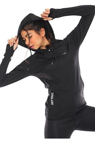 FURKAN EXCLUSIVE Kadın Siyah Içi Pamuklu Fermuarlı Kapüşonlu Spor Sweatshirt