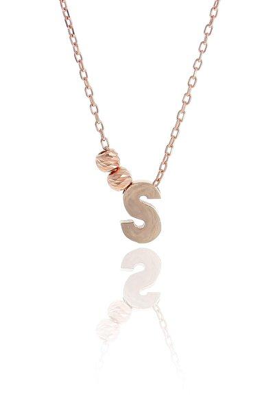 Sümer Telkari S Harfli Tasarım Rose Gümüş Kolye 3834