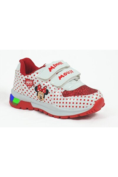 Minnie Mouse Kız Çocuk Kırmızı Işıklı Spor Ayakkabı