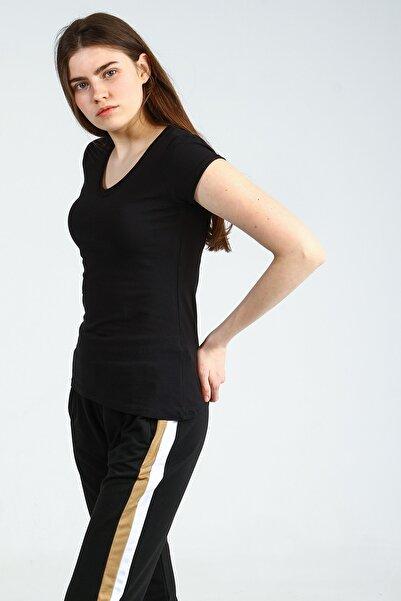 Collezione Sıyah V Yakalı Kısa Kollu Basic Kadın Tshirt