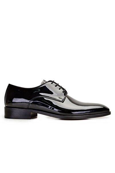 Nevzat Onay Hakiki Deri Siyah Rugan Bağcıklı Kösele Erkek Ayakkabı -10197-