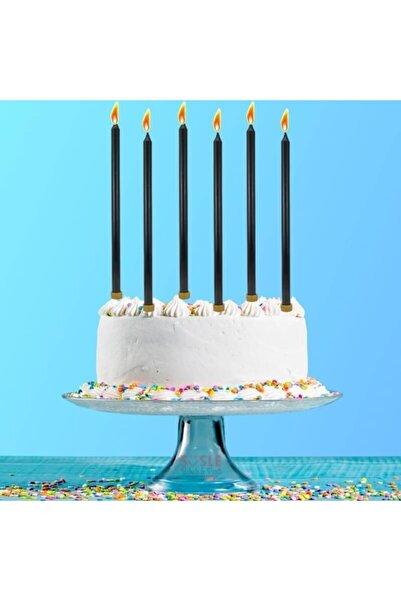 Süsle Baby Party Ince Uzun 18 Cm Altlıklı Pasta Mumu, 6 Adet, Siyah