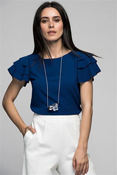 Cotton Mood 7222201 Kobe Fırfırlı Kısa Kol Bluz Lacıvert