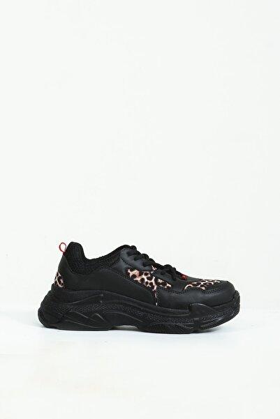 Collezione Siyah Leopar Desen Detaylı Bağcıklı Kalın Taban Kadın Sneaker