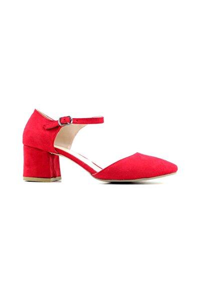 PUNTO 527082 Kadın Topuklu Ayakkabı-kırmızı Süet
