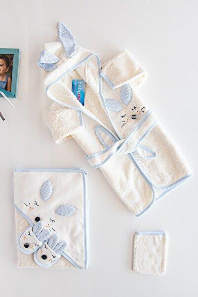 Babymod Bebek Banyo Havlu Bornoz Seti Tavşan Figürlü