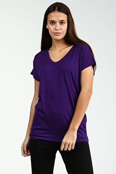 Mor V Yakalı Kısa Kollu Basic Kadın Tshirt