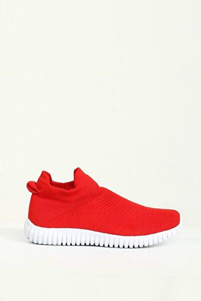 Collezione Kırmızı Düz Tabanlı Bağcıksız Kadın Sneaker