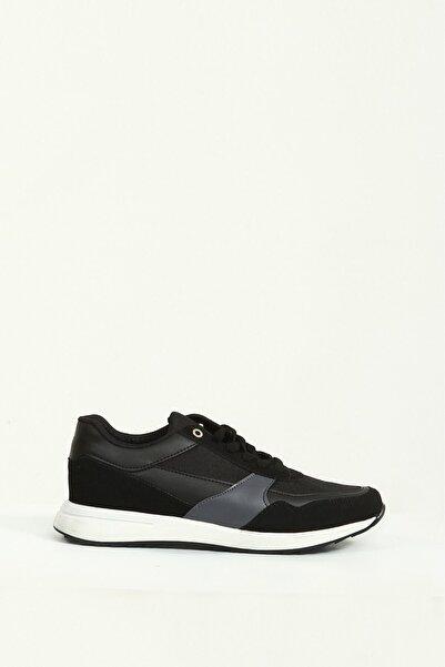 Collezione Siyah Parça Detaylı Bağcıklı Erkek Sneaker