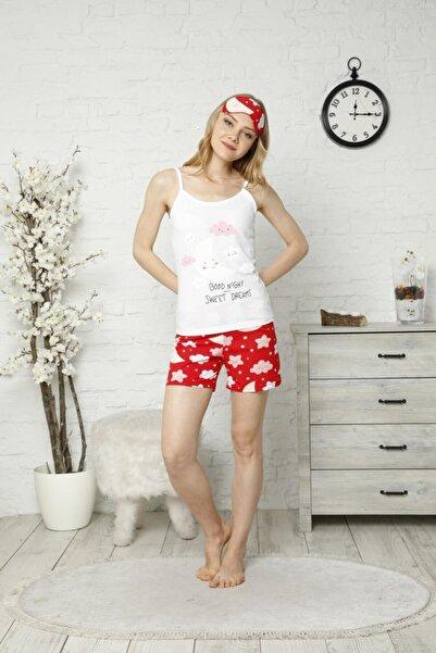 TENA MODA Kadın Ekru Ip Askılı Atletli Şortlu Bulut Baskılı Pijama Takımı