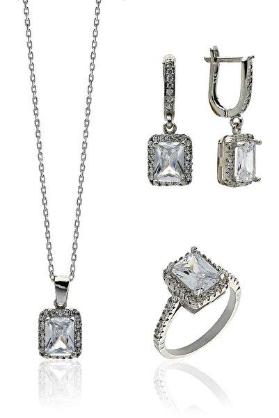 Hicret Gümüş Baget Taşlı Gümüş Kadın Set