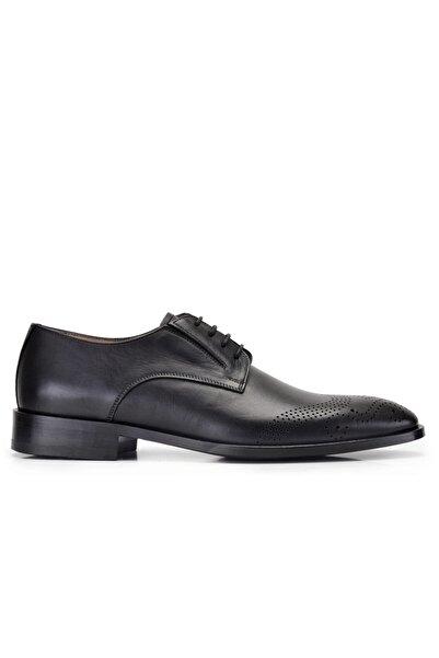 Nevzat Onay Siyah Klasik Bağcıklı Kösele Erkek Ayakkabı -9407-