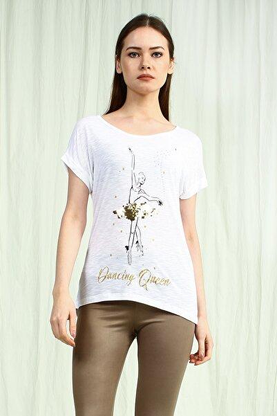 Collezione Beyaz Bisiklet Yaka Önü Baskılı Pullu Kısa Kollu Kadın Tshirt