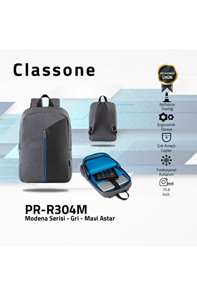 Classone Modena Pr-r304m 15.6 Inç Notebook, Laptop Sırt Çantası-gri-mavi Astar