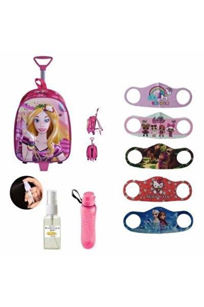 Mashotrend Çekçekli Barbie Baskılı Kabartmalı Kreş Anasınıfı Okul Çantası + 5 Adet Maske + Kolonya + Matara