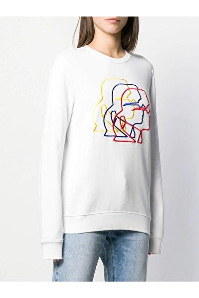Karl Lagerfeld 3d Profil Nakış Işlemeli Beyaz Sweatshirt
