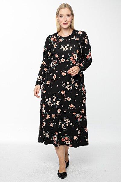 1fazlası Kadın Siyah Uzun, Küçük Gül Kurusu Baskılı Krep Elbise