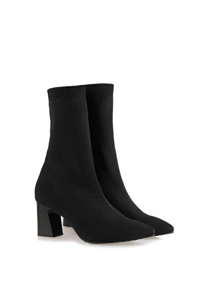 37Numara Çorap Topuklu Bot Siyah