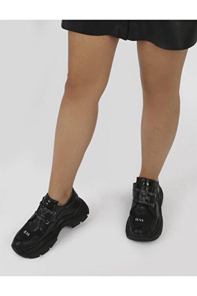 İLVİ Seyo Hakiki Deri Kadın Siyah Süet Streç Spor Ayakkabı