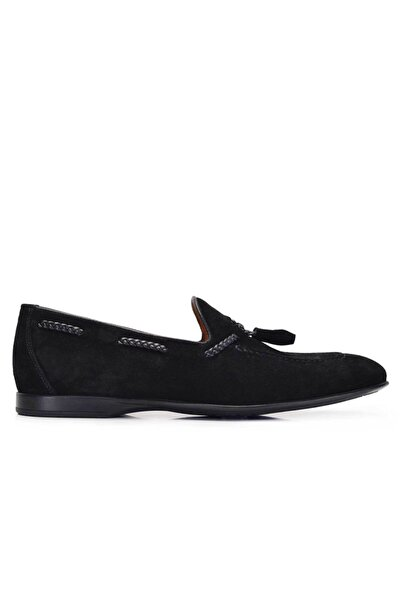 Nevzat Onay Hakiki Deri Siyah Günlük Loafer Yazlık Erkek Ayakkabı