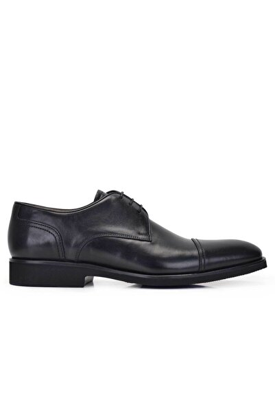 Nevzat Onay Hakiki Deri Siyah Günlük Bağcıklı Erkek Ayakkabı -11463-