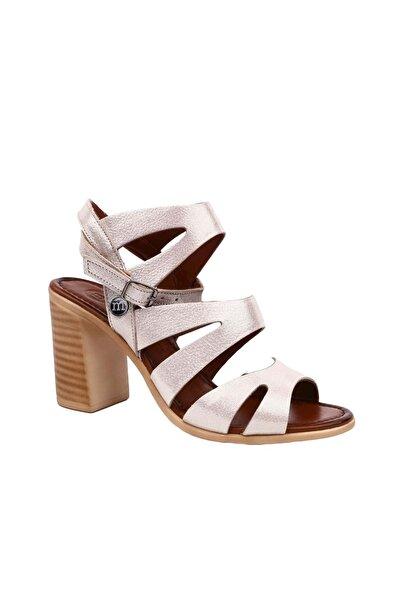 Mammamia Deri Kadın Topuklu Ayakkabı 19zn1505 - Altın - 36