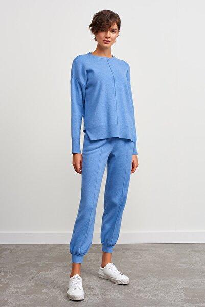 JOIN US Beli Ve Paçası Lastikli Cepli Triko Pantolon-mavi