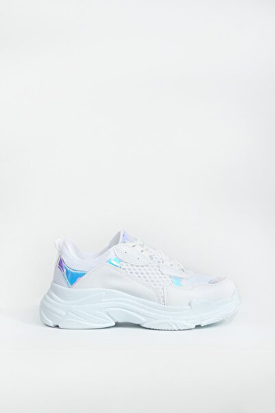 Collezione Beyaz Parçalı Bağcıklı Kalın Taban Kadın Sneaker