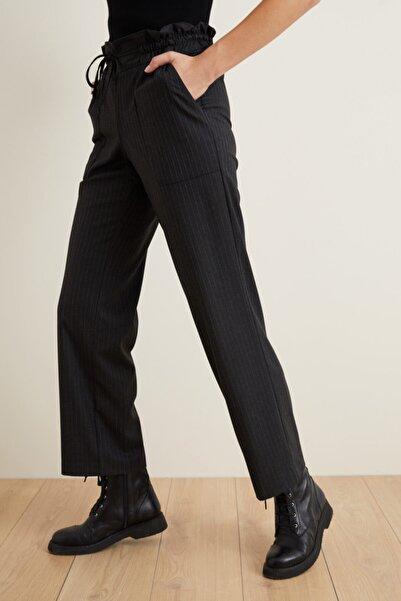 adL Kadın Antrasit Yüksek Bel Çizgili Cigarette Pantolon 15339345000