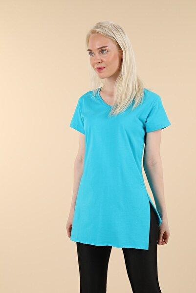 Oblavion Mavi Yırtmaçlı V Yaka T-shirt