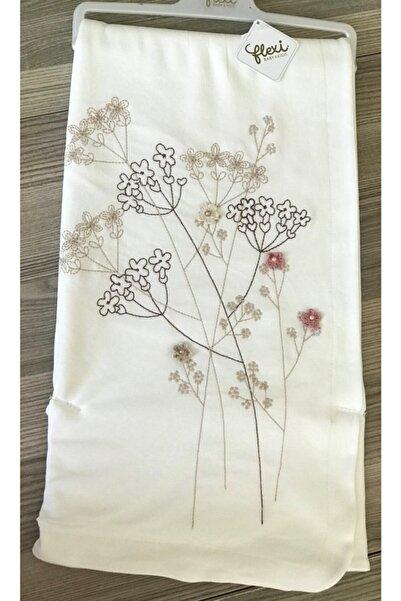 Flexi Işlemeli Beyaz Battaniye