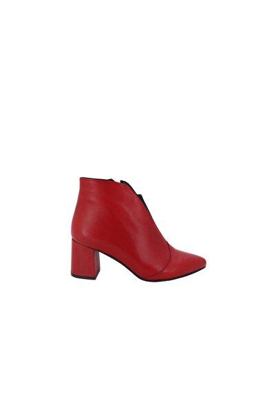 Hobby Kırmızı Deri Topuklu Günlük Kadın Bot 1924