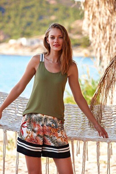 Penyemood Penye Mood 8713 Kadın Şortlu Pijama Takım Yeşil