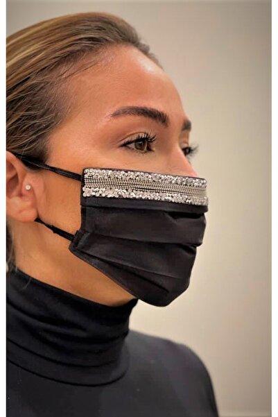 MaskeTrendi Taşlı Maske / %100 Pamuklu Kumaş, Telli, Yıkanabilir Maske / Siyah