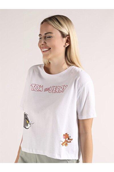 Oblavion Beyaz Tom & Jerry Baskılı T-shirt