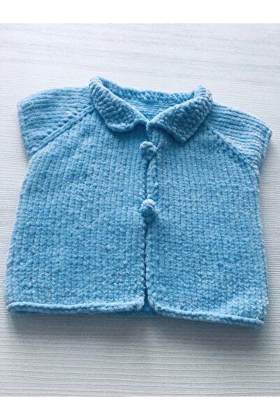 Kartopu Unisex Bebek Mavi El Örgüsü Yeleği